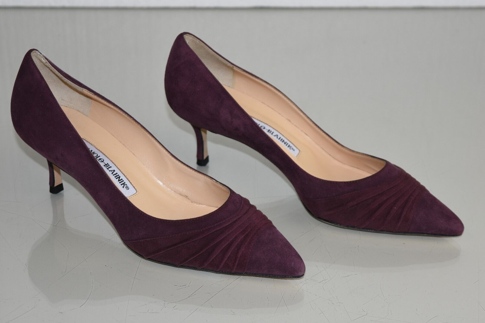 775 NEW MANOLO BLAHNIK goldA RUCHED PUMPS BB SUEDE Burgundy  BORDO SHOES 37