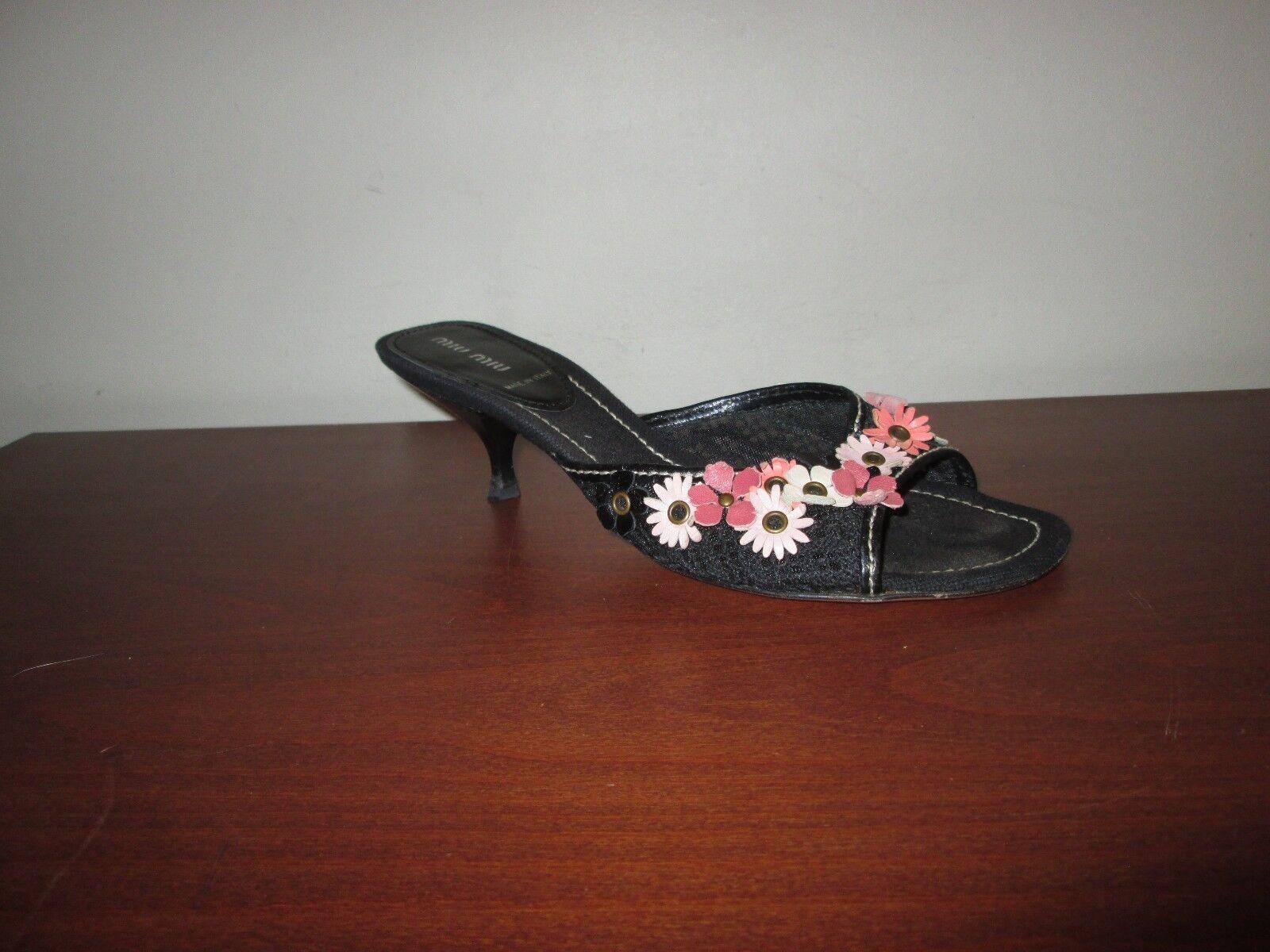 MIU MIU Black Mesh Leather Flower Embellished Kitten Heel Mules Sandals 39