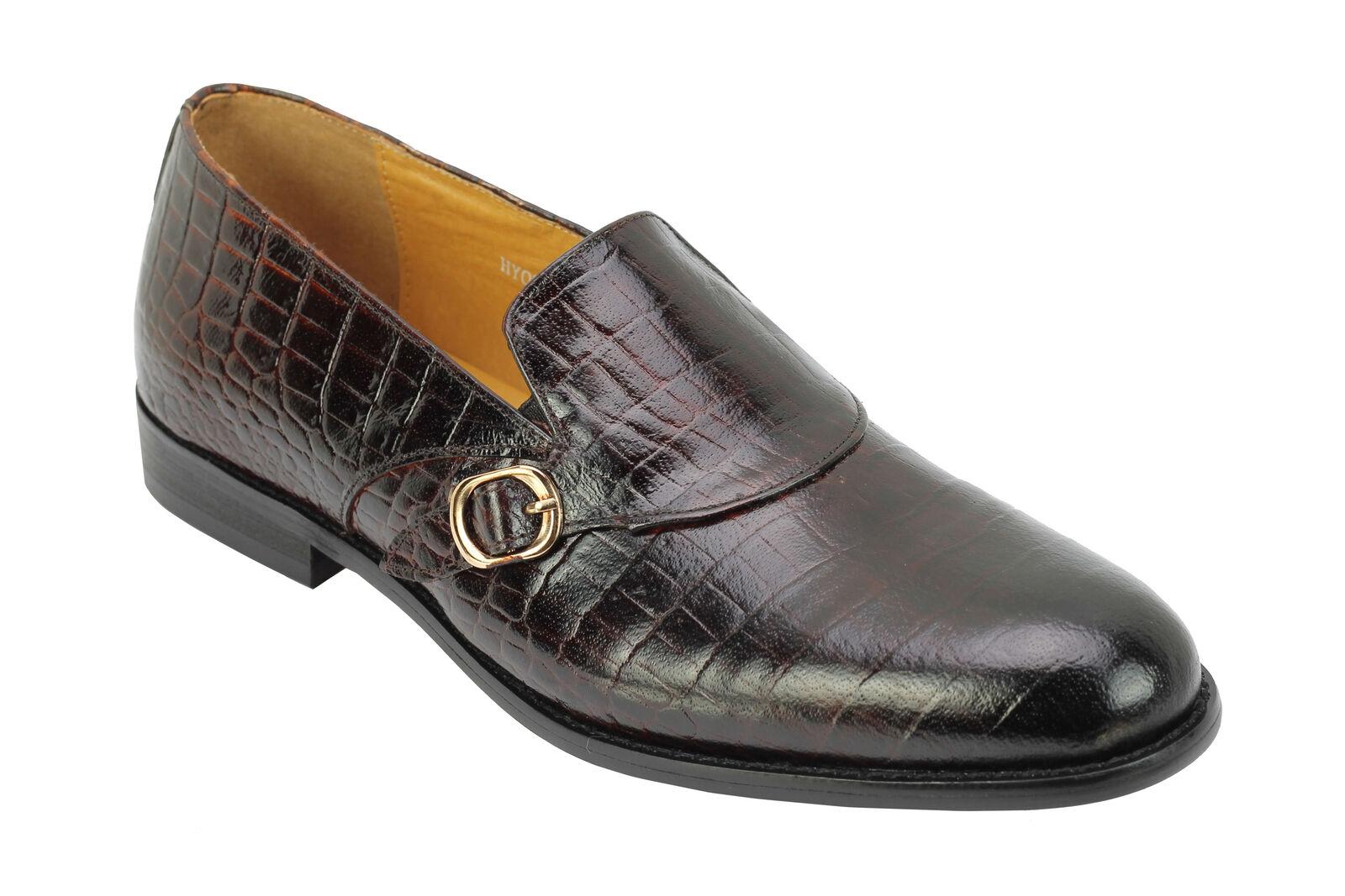 Herren Retro Real Leder Schuhes Braun Crocodile Skin Skin Crocodile Print Vintage Smart Loafers 0cdd5d