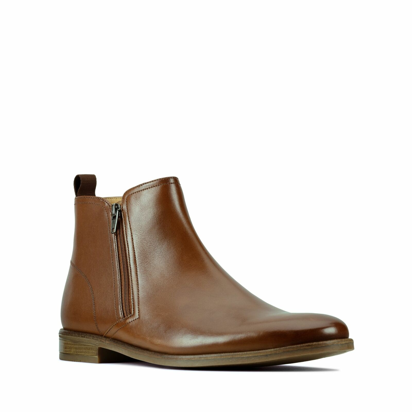 Clarks Stanford Zip Mens Tan Smart Casual Dress Chelsea Leather Boots