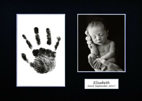 Framed /& Personalised Hand Print Footprint Kit Baby Shower Fathers Day Gift Idea