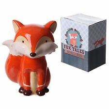 Cute ceramic sitting Fox Money box cute christmas gift piggy bank decoration