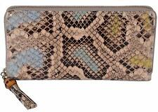 New Gucci Women's 307984 Ghost Ombre Python Snakeskin Bamboo Zip Around Wallet