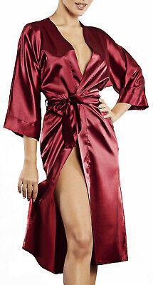 Damen Morgenmantel Kimono im Edler Satin Kurz Robe Bademantel Nachtw/äsche Sleepwear V Ausschnitt mit G/ürtel