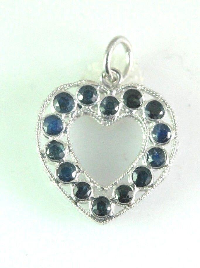 18 kt white gold Sapphire Heart pendant S=0.40