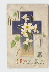 ANTIQUE-POSTCARD-EASTER-SILK-EMBELLISHED-WINSCH-RELIGIOUS-CROSS-DAFFODILS-EMBOS