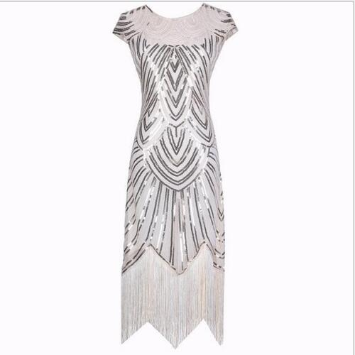 1920s Flapper Dress Great Gatsby Charleston Fringe Sequins Beaded Dress