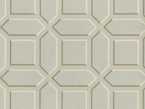 Wallpaper Designer Taupe Cream Pale Gray Geometric Trellis
