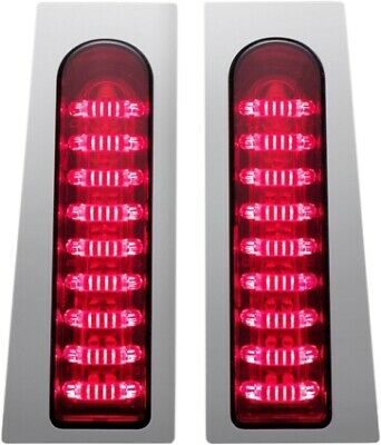 Low Profile Red Smoke Lens LED Saddle Bag Lights For Harley Touring 14-18