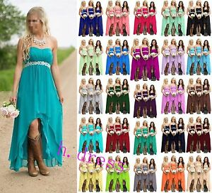 Hi-Lo-Chiffon-Beaded-Bridesmaid-Formal-Ball-Gown-Party-Evening-Prom-Dress