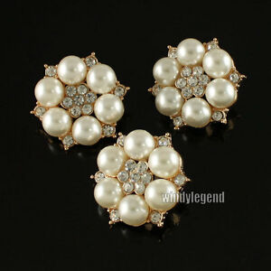 5-CLEAR-RHINESTONE-FLOWER-FAUX-IVORY-CREAM-PEAR-GOLD-TONE-SHANK-BUTTONS