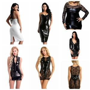 Sexy-Women-Leather-Wet-Look-Bodycon-Evening-Party-Cocktail-Club-Short-Mini-Dress