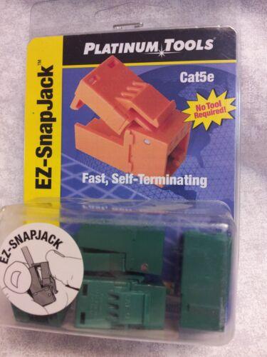 4 Cat5e Keystone EZ-SnapJack Platinum Tools 705GN-4c Data Jack Port Wall Snap In
