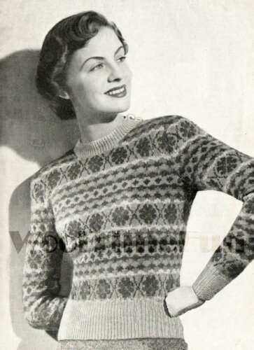 Knitting Pattern vintage Lady/'s 1940s Fair Isle Jumper 38-40 Inch Bust.
