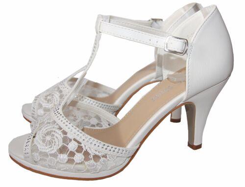 Blanc VV 027 fz799 Chaussures De Mariée Sandales Soirée Chaussures Bout et pierres