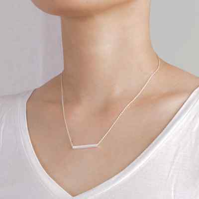 Gold or Silver Dainty Horizontal Square Bar Box Minimalist Necklace