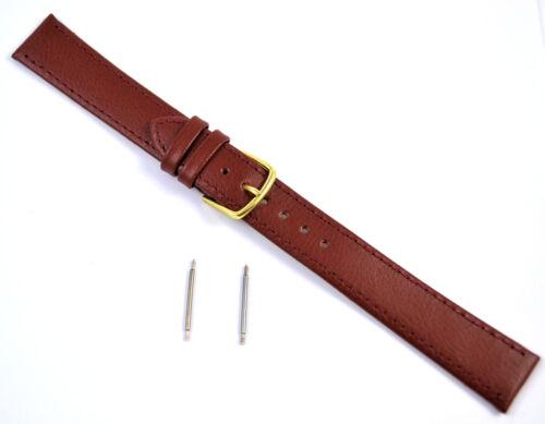 18 12 20mm Lang Echtleder Uhrarmband Kalb Maserung Schwarz Hellbraun 14