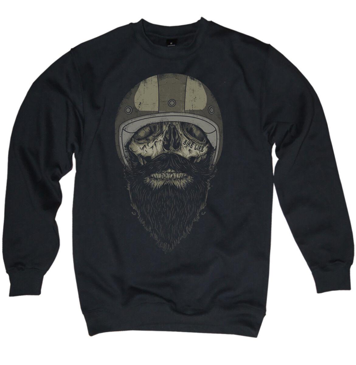 Sweater Men's Biker Skull Oldschool Beard Rider Motorcycle Mc Chopper S-XXL