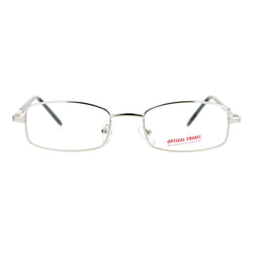 SA106 Mens Narrow Rectangular Metal Rim Spring Hinge Optical Quality Eye Glasses
