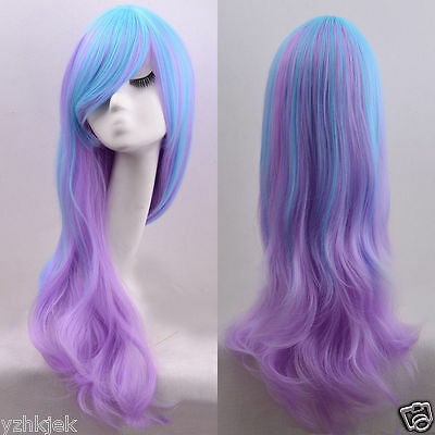 Lolita Long Curly Wavy Full Wig Hair Rainbow Colors Cosplay Anime Party W47