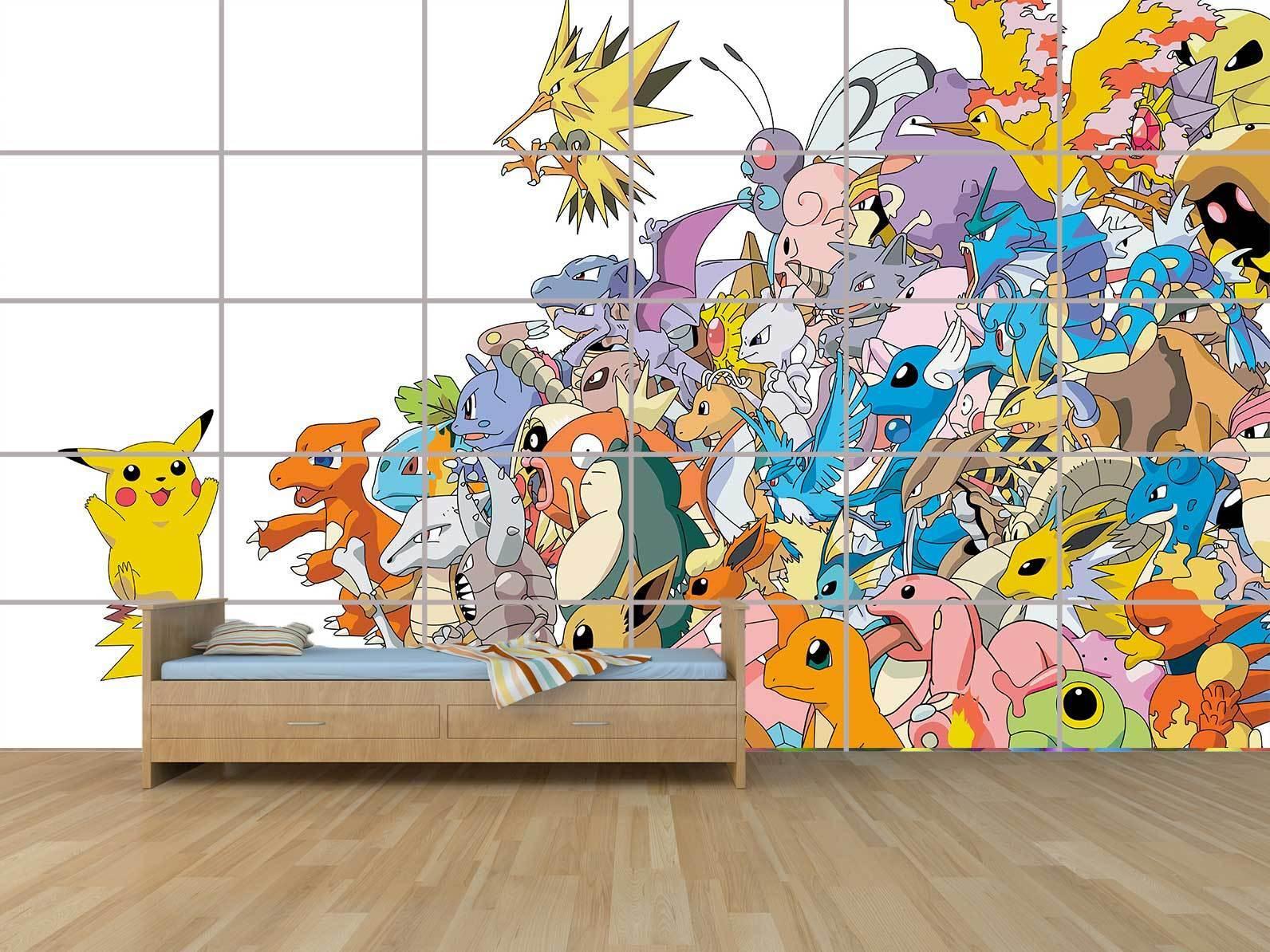 Pokemon Pikachu Pikachu Pikachu Gigante Cartel Poster Habitación Niños Room ( Sala de Control)  Sin impuestos