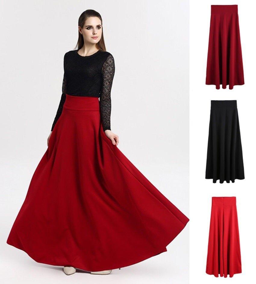 Women Skirt High Waist Maxi Long Floor Length Pleated Line Fashion Elegant Party