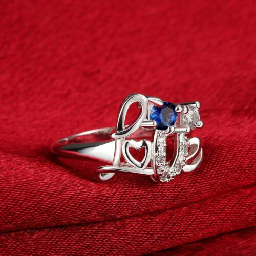 Señoras hermosas Amor simulado Azul Zafiro Anillo De Compromiso De Plata 925 Talle O-Q