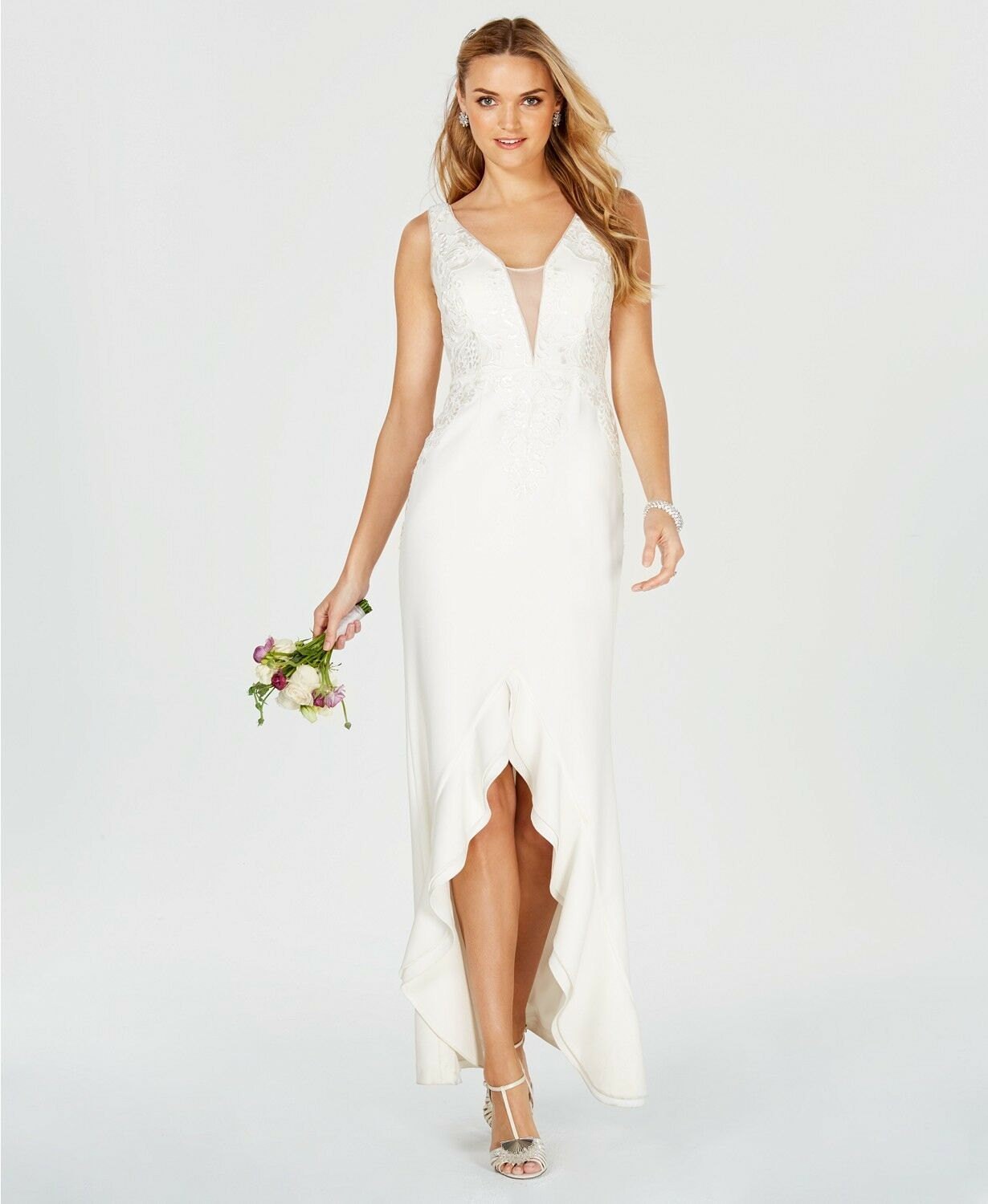Adrianna Papell Womens Embroidered Plunge Ruffle Gown Ivory Size 12