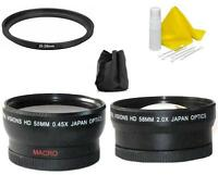 58mm Digital Vision Wide Angle & Telephoto Lens For Sony Slt A65 A58 A57 & More