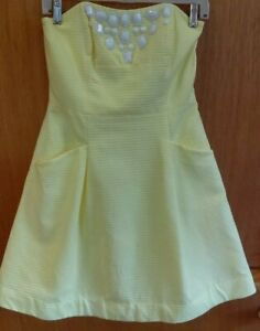 LILLY-PULITZER-Pale-Yellow-Strapless-Blossom-Dress-Size-4