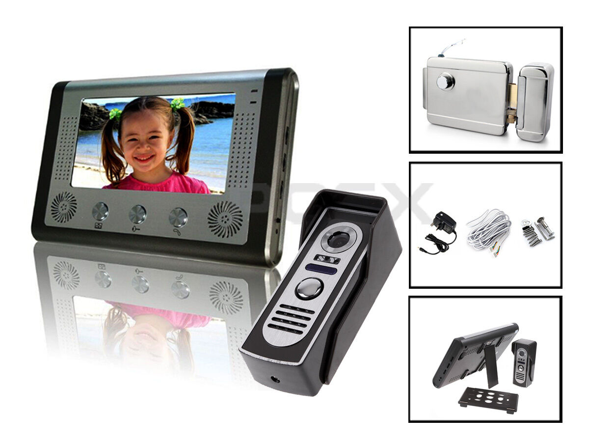 7  TFT LCD con Cable de Vídeo Puerta Teléfono Cámara Sistema de Seguridad de intercomunicación de entrada de timbre