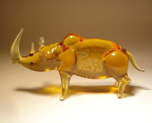 Blown Glass Figurine Art Animal Rhino Rhinoceros