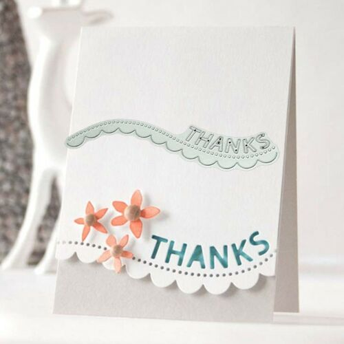 Thanks Wavy Lace Metal Cutting Dies Stencil Scrapbooking Card Embossing C Hd9f