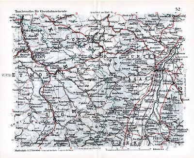 Bescheiden Straßburg Colmar Nancy Épinal 1927 Kl. Orig Eisenbahnkarte Sarrealbe Saverne Dié