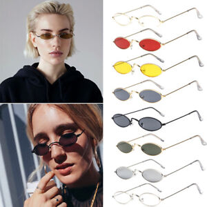 104a3645c8 Image is loading Hot-Mens-Women-Retro-Vintage-Small-Oval-Sunglasses-