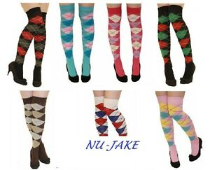 LADIES-OVER-THE-KNEE-ARGYLE-CHECKED-SOCKS-ARGYLL-VARIOUS-COLOURS-GOLF-THIGH-HEN