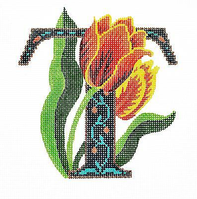 """Floral Alphabet Letter /"""" G /"""" handpainted Needlepoint Canvas Design by LEE"""