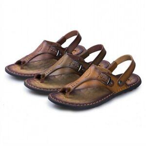 Mens Slipper Sandal clip toe Flats Heels Buckle Casual Shoes Outwear Leather PU