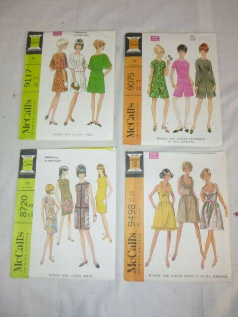 4 Vtg 1967 1968 UNCUT McCalls Sewing Patterns Dresses Romper Twiggy Seventeen
