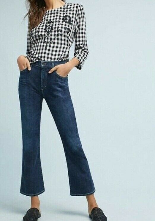Woman's New  228 Citizen of Humanity Fleetwood Crop High Rise Flare Sz 24
