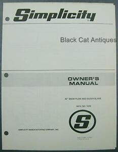 original simplicity owner s manual 42 snow plow dozer blade mfr rh ebay com simplicity sunstar 20 owner's manual simplicity owners manual 1692420