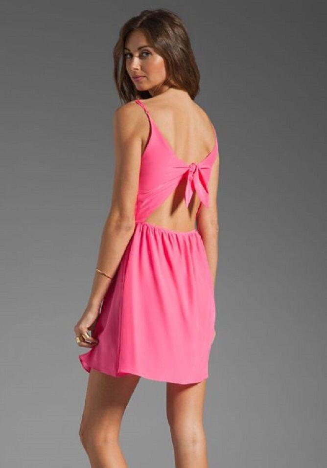 Parker damen 100% Seide Rosa Flamingo Elana Kleid Neu XS L