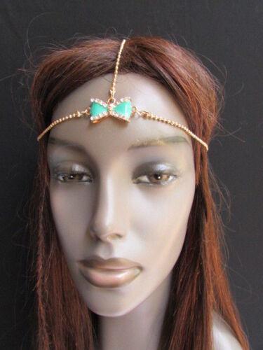 Women Head Chain Fashion Gold Metal Jewelry Center Bow Tie Ribbon Hair Headband