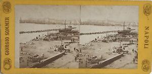 Napoli-Molo-Italia-Fotografia-Sommer-Stereo-Vintage-Albumina