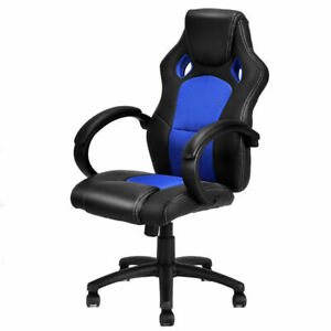 Terrific Details About High Back Race Car Style Bucket Seat Office Desk Chair Gaming Chair Blue New Frankydiablos Diy Chair Ideas Frankydiabloscom