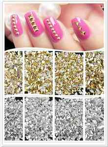 1000PCS 3D Design Nail Art Decoration Stickers Metallic Gold Studs ...