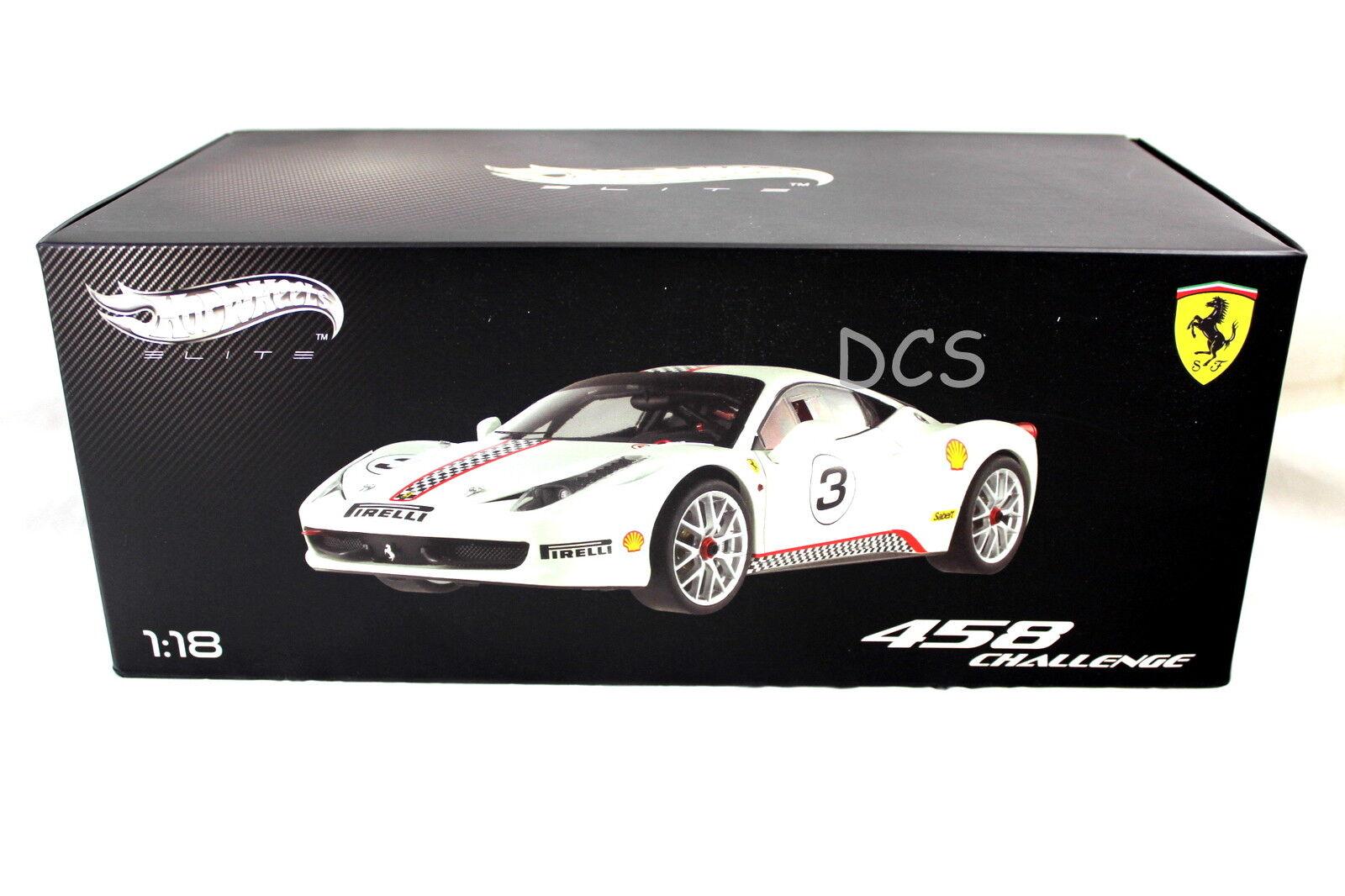 Ferrari 458 italia weiße   herausforderung 3 hot wheels elite 1   18 x5487 druckguss - auto