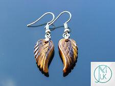 TIGRI Eye Angel Wing Gemstone Orecchini Naturale Quarzo CHAKRA Guarigione Pietra