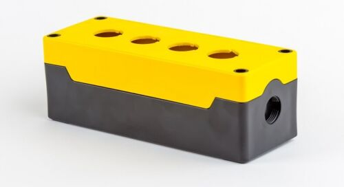 Enclosure Box for Control Switches 4 Holes Push Button Station Yellow HIGHLY
