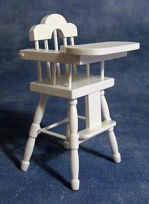 White High Chair, Dolls House Miniatures, Nursery, Furniture, Dining, 1.12 Scale